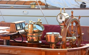 Picture yacht, compass, the wheel, copper