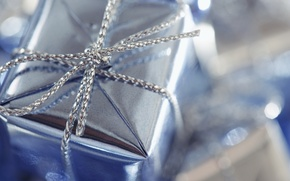 Wallpaper macro, silver, node, box, gift, wrapper, holiday, packaging, blue, netting, pigtail, glare, bow