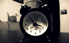 Wallpaper B/W, Photo, Morning, Watch, Table, Alarm clock