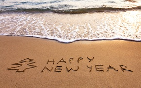 Picture sand, sea, beach, beach, sea, sand, New Year, Happy, Happy New Year
