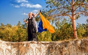 Picture nature, open, sword, dress, flag, redhead, Ukraine