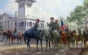 Wallpaper Robert Lee, Mort Kunstler, art, The civil war in the United States