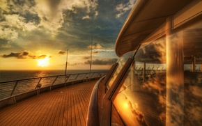 Picture sea, the sky, water, the sun, clouds, macro, sunset, river, background, the ocean, widescreen, Wallpaper, ...