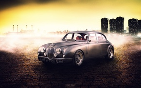 Picture car, auto, city, the city, pavers, art, Jaguar, cars, cars, jaguar, art