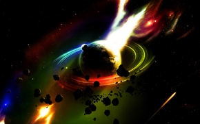 Picture fire, meteorites, Saturn