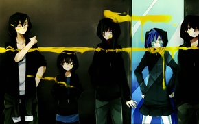 Picture paint, mirror, hood, five, friends, yellow, art, tsubomi kido, kagerou days, kousuke seto, hibiya amamiya, …