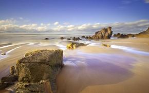 Picture sand, sea, beach, the sky, clouds, rocks, spring, April, Spain, Asturias