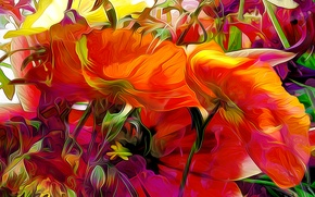 Picture line, flowers, rendering, paint, petals
