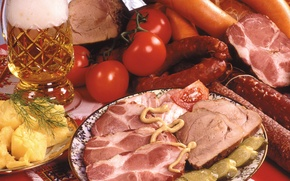 Picture photo, Beer, Tomatoes, Food, Sausage, Ham, Meat products
