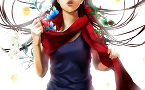 Picture leaves, girl, flowers, anime, scarf, art, crystals, yuuike