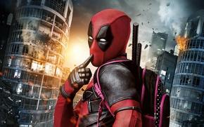 Wallpaper City, Light, Action, Ryan Reynolds, Red, Sky, Black, Sun, Warrior, White, Guns, Deadpool, Eyes, Ninja, ...