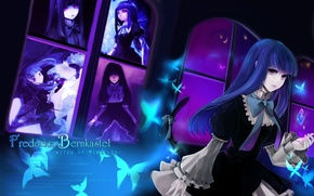 Picture crystal, girl, butterfly, night, blue, Windows, tail, the witch, Umineko no Naku Koro ni, When …