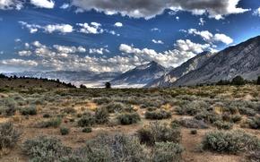 Wallpaper plain, HDR, grass, mountains, clouds