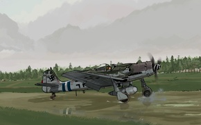 Picture figure, fighter, pilot, the plane, the airfield, runway, The second world war, German, Focke-Wulf FW-190