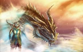 Picture dragon, art, dragonborn, Skyrim, race, the Argonian, parturnaks