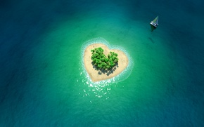 Picture the ocean, boat, heart, island, tropical island in form of heart