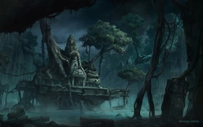 Picture water, trees, art, temple