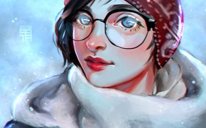 Picture girl, snow, glasses