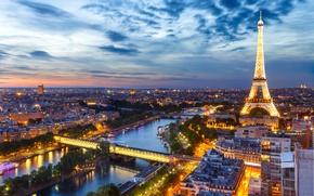 Wallpaper night, lights, France, Paris, panorama, Eiffel tower