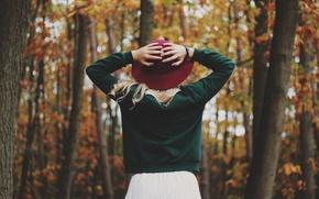 Wallpaper autumn, girl, back, hat, hands