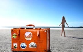 Wallpaper ORANGE, RESORT, journey, COLOR, HORIZON, suitcase, SAND, BEACH, GIRL