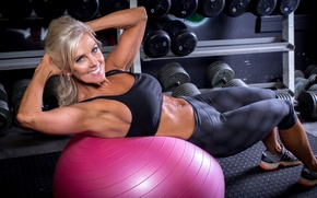 Picture smile, workout, fitness, abs, training ball