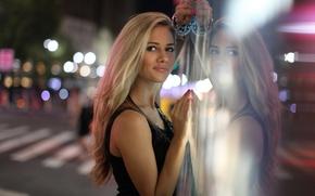 Picture glass, girl, the city, actress, singer, Julia Parshuta, Julia Parshuta