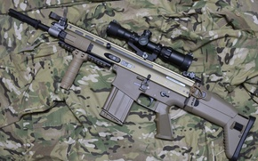 Wallpaper weapons, assault, rifle, camouflage, machine, FN SCAR-H