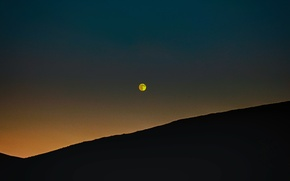 Picture the sky, sunset, the moon, the evening, hill
