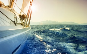 Picture sea, wave, the sky, foam, water, squirt, background, mood, the ocean, the wind, Wallpaper, boat, ...