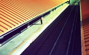 Wallpaper roof, people, the platform, Railroad