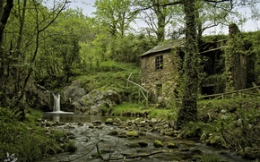 Wallpaper forest, trees, nature, house, river, stones, waterfall, Spain, Spain, Arbon