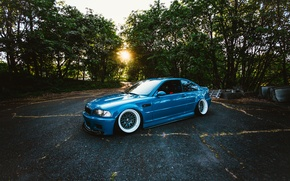Picture the sun, trees, blue, BMW, wheel