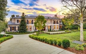 Wallpaper trees, design, house, Villa, yard, mansion