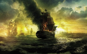 Picture sea, wave, clouds, fire, ships, sails, Pirates of the Caribbean, Pirates of the Caribbean, On …