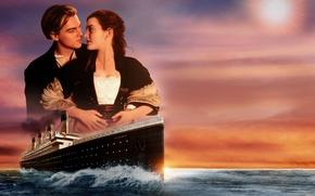 Wallpaper love, sunset, ship, pair, Titanic, love, sunset, Leonardo DiCaprio, Titanic, Rose, ship, Kate Winslet, Kate ...