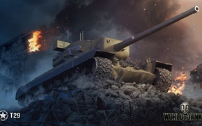 Wallpaper WoT, World of tanks, World of Tanks, Wargaming, American tank, T29