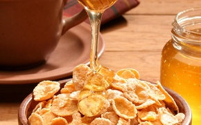 Wallpaper food, honey, plate, Bank, sweet, cereal, a light Breakfast