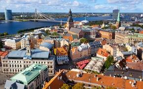 Picture bridge, river, home, street, Riga, Latvia