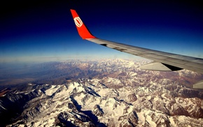 Wallpaper the plane, wing, Mountains