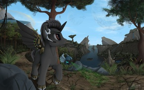 Picture forest, river, art, unicorn, pony, droid, My Little Pony, mlp