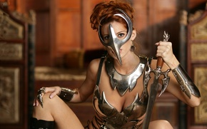 Picture girl, warrior, mask, armor