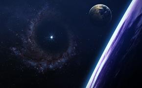 Picture art, beautiful, stars, planet, galaxy