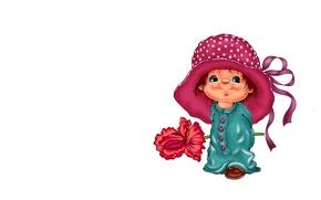 Picture art, girl, hat, flower, children's