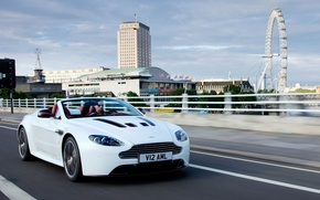 Picture road, white, the city, Aston Martin, London, Vantage, Ferris wheel, supercar, Roadster, V12, the front, ...