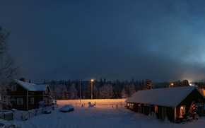 Wallpaper Lapland, dawn, Finland, winter, snow, houses, morning