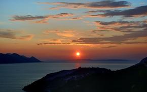 Picture sea, clouds, sunset, Croatia, Dubrovnik