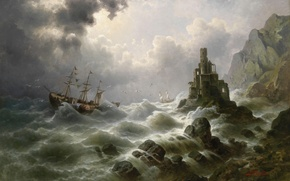 Picture picture, painting, painting, Stormy Sea with Lighthouse on the Coast, J. Claiton