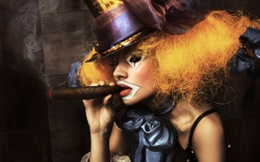 Wallpaper portrait, hat, clown, makeup, smoke, bow, girl, cigar