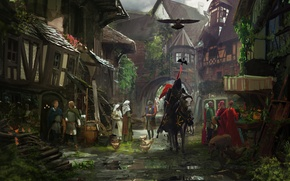 Picture the city, horse, street, building, knight, horse, Middle Ages, knight, The middle ages, the peasants, ...
